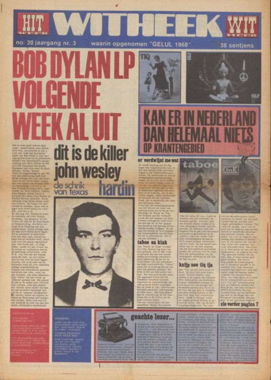 hitweek #20 1968 02 magazine Bob Dylan cover story