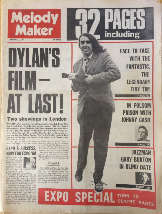 Melody Maker 2 November 1968 Bob Dylan cover story