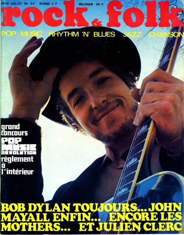 rock & folk magazine france #30 Bob Dylan cover story