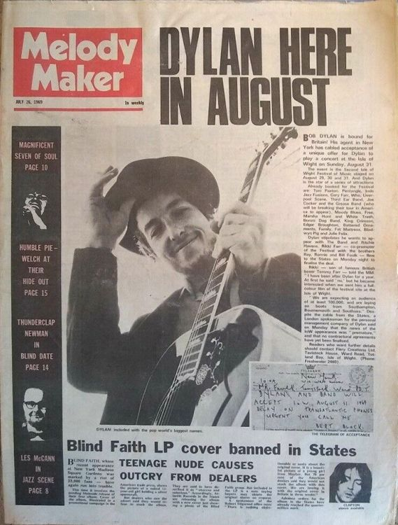 Melody Maker 26 July 1969 Bob Dylan cover story