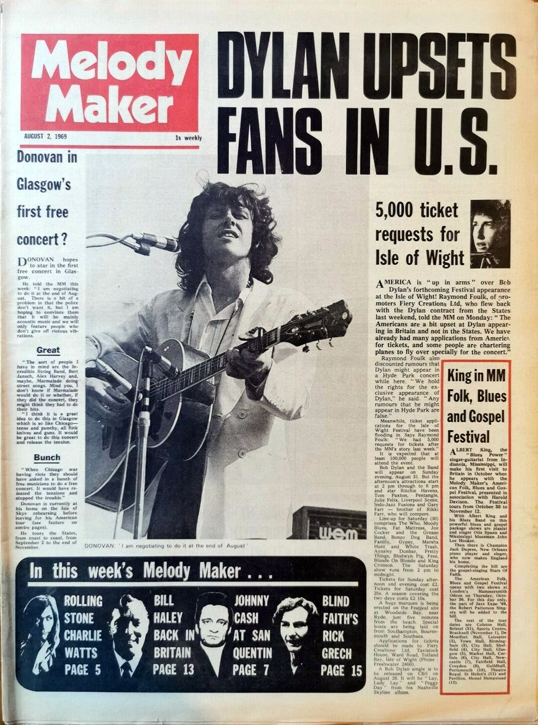 Melody Maker 2 August 1969 Bob Dylan cover story