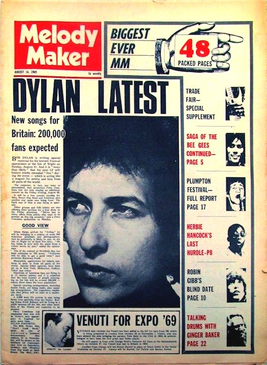 Melody Maker 16 August 1969 Bob Dylan cover story