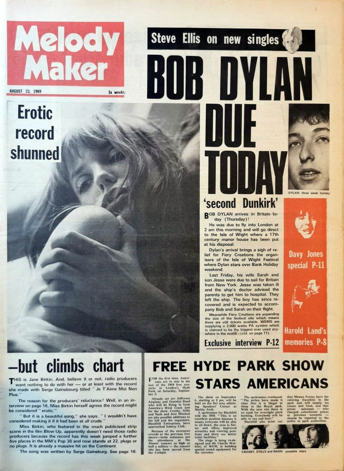 Melody Maker 23 August 1969 Bob Dylan cover story