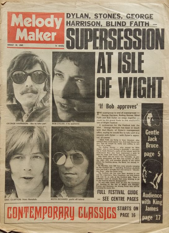 Melody Maker 30 Aug  1969 Bob Dylan cover story