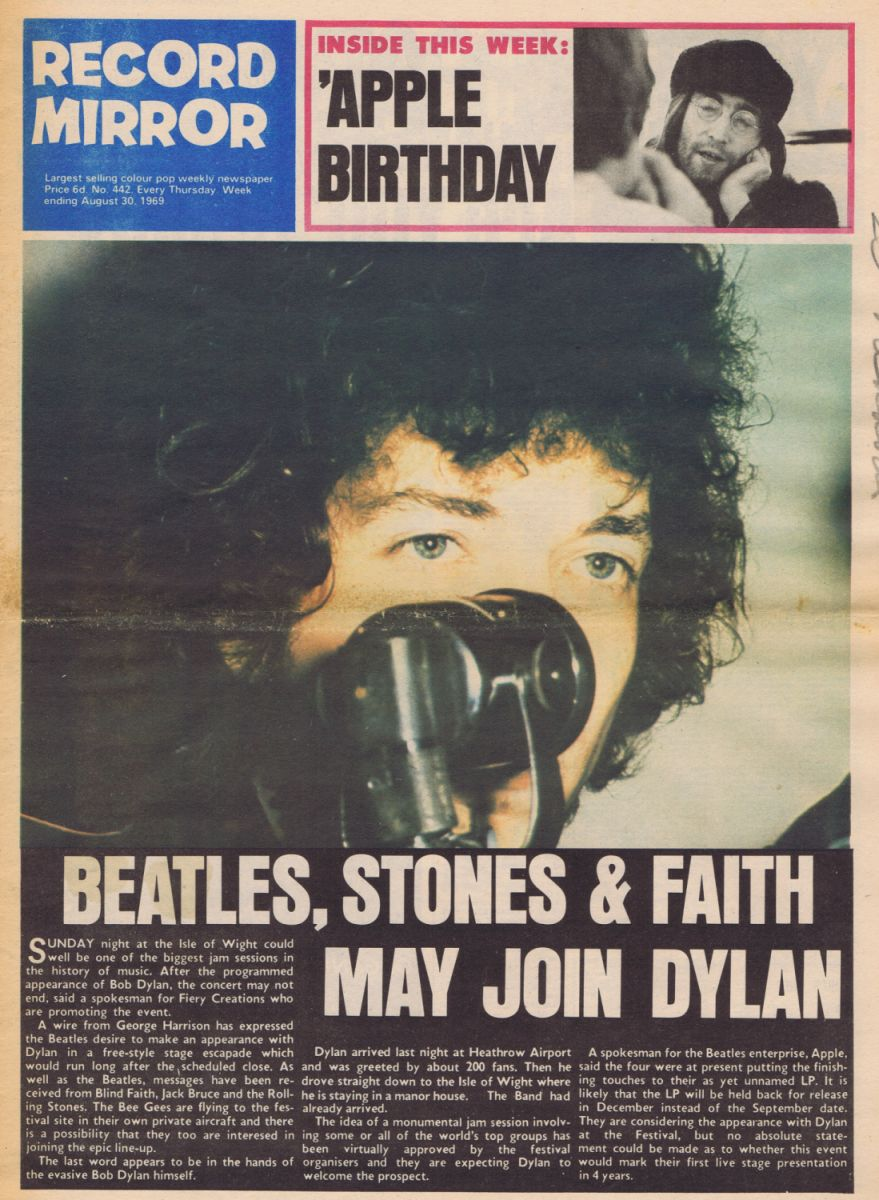 record mirror magazine 30 August 1969 Bob Dylan cover story
