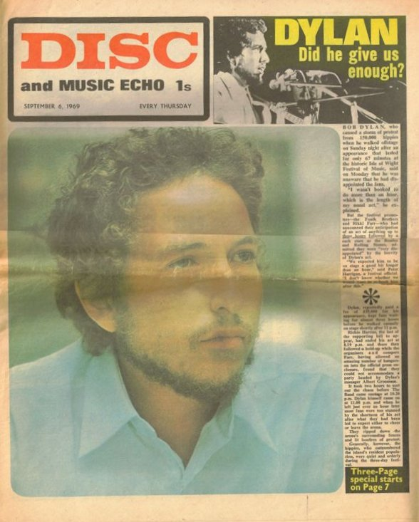 disc and music echo 1969 09 magazine Bob Dylan cover story