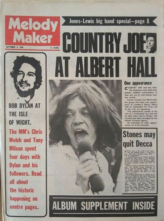 Melody Maker 6 September 1969 Bob Dylan cover story