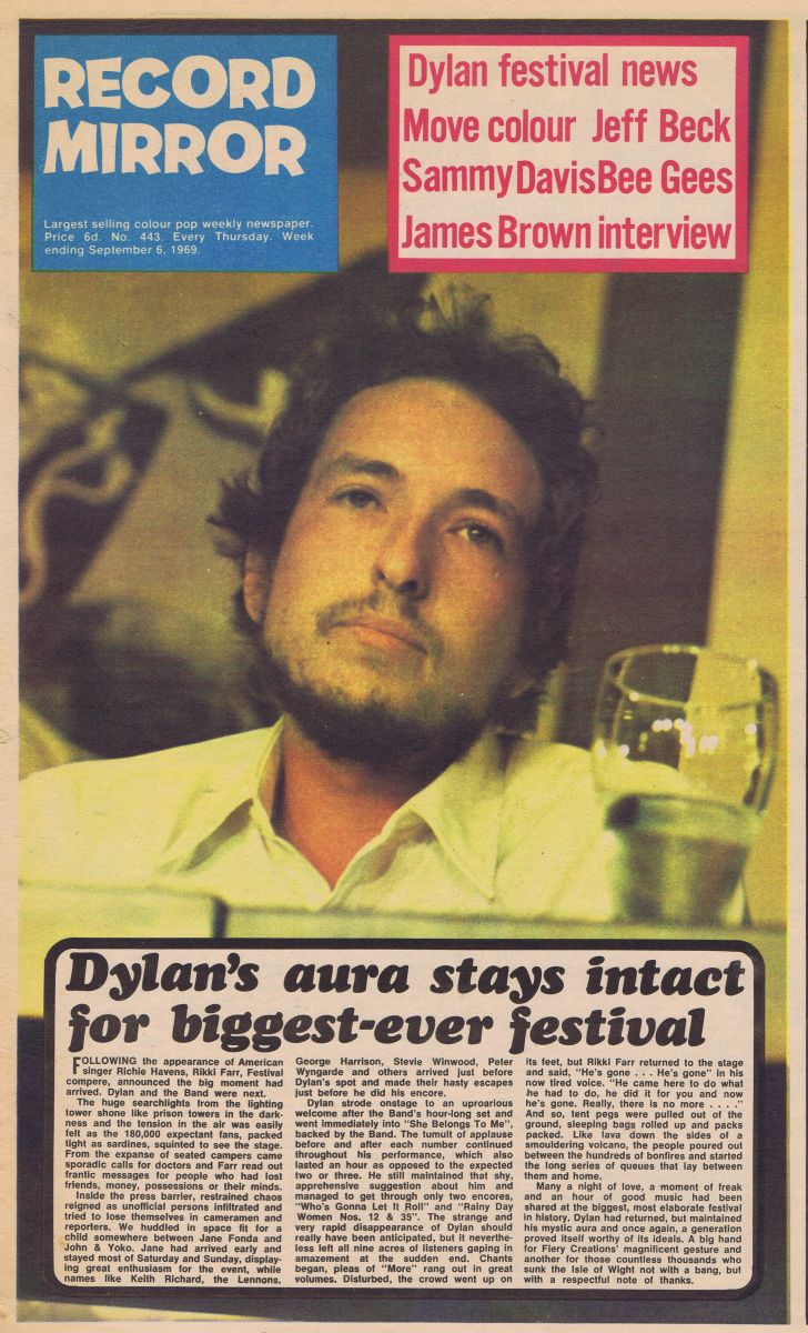 record mirror magazine 6 September 1969 Bob Dylan cover story