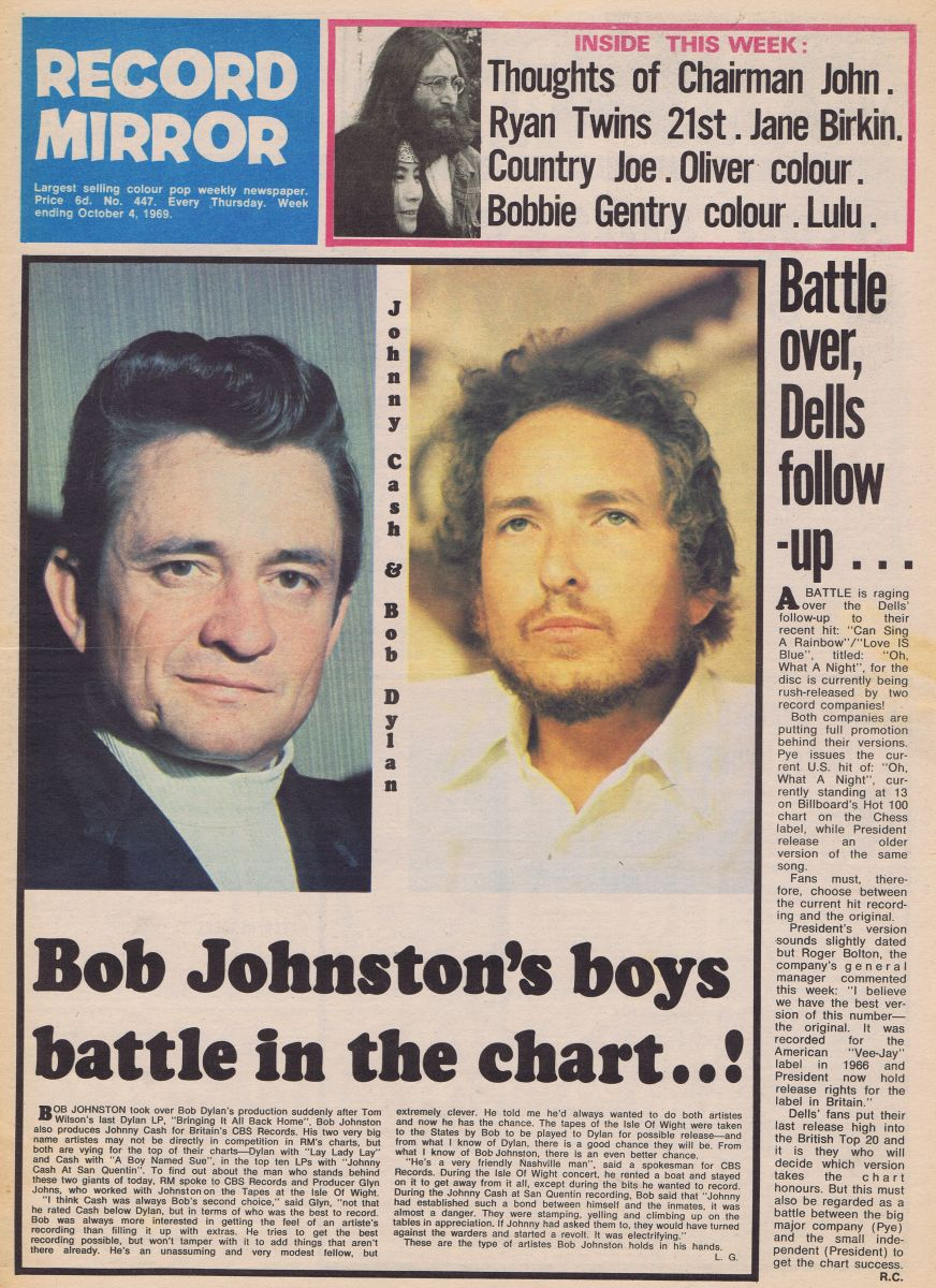 record mirror magazine 6 October 1969 Bob Dylan cover story