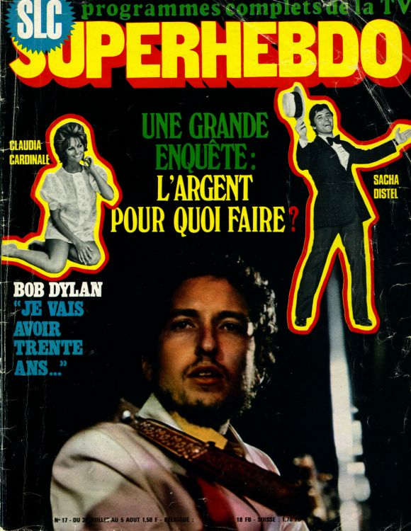 superhebdo magazine france July 1970 Bob Dylan cover story