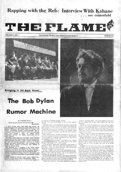 the flame magazine Bob Dylan cover story