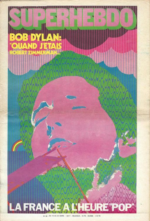 superhebdo magazine france March 1971 Bob Dylan cover story