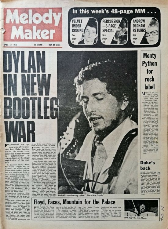 Melody Maker 17 April 1971 Bob Dylan cover story