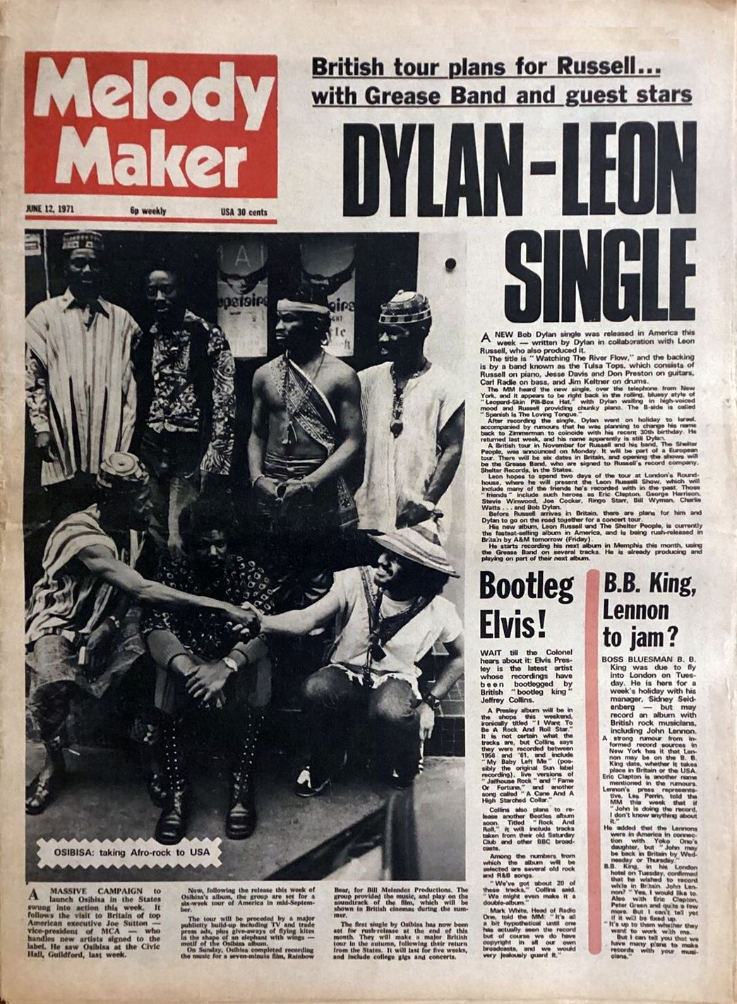 Melody Maker Bob Dylan cover story 10 June 1971