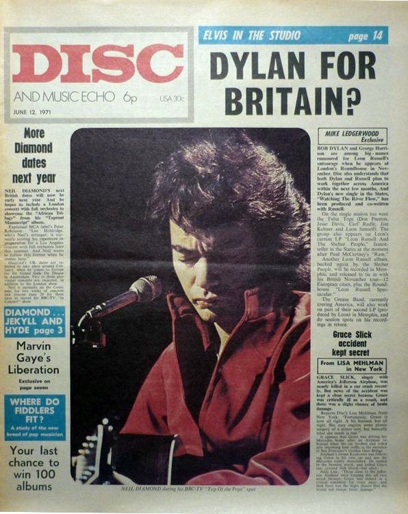 disc and music echo june 1971 magazine Bob Dylan cover story