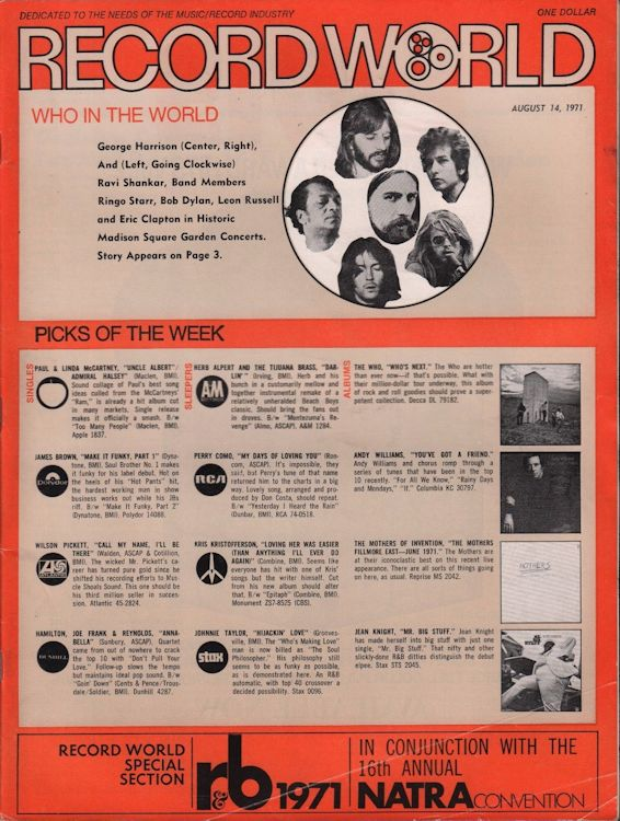 record world 4 August 1971 magazine Bob Dylan cover story