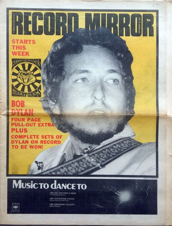 record mirror magazine 18 September 1971 Bob Dylan cover story