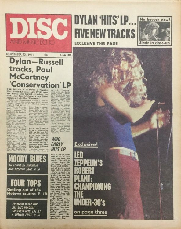 disc and music echo november 1971 magazine Bob Dylan cover story