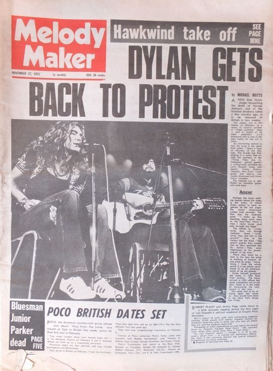 Melody Maker 27 November 1971 Bob Dylan cover story