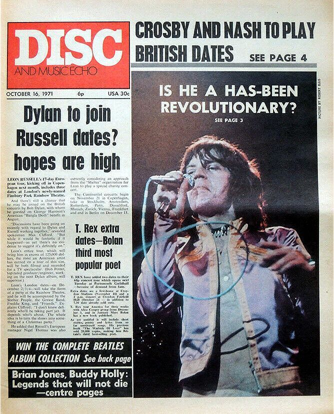 disc and music echo october 1971 magazine Bob Dylan cover story