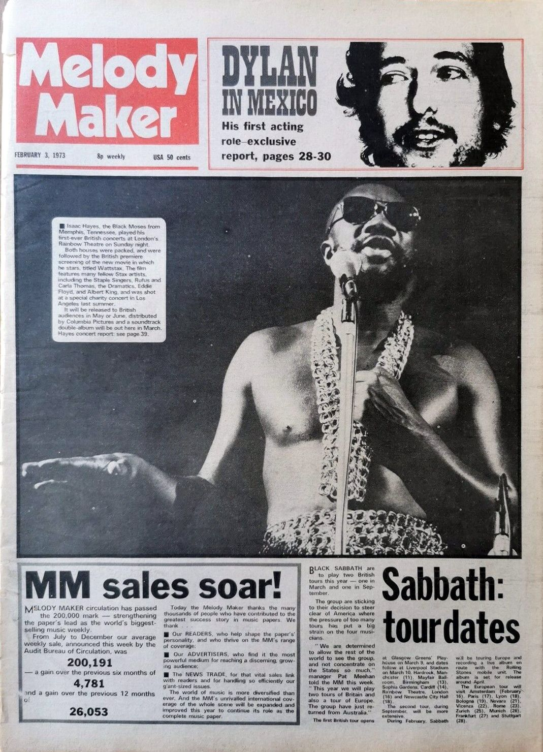 Melody Maker 3 February 1973 Bob Dylan cover story