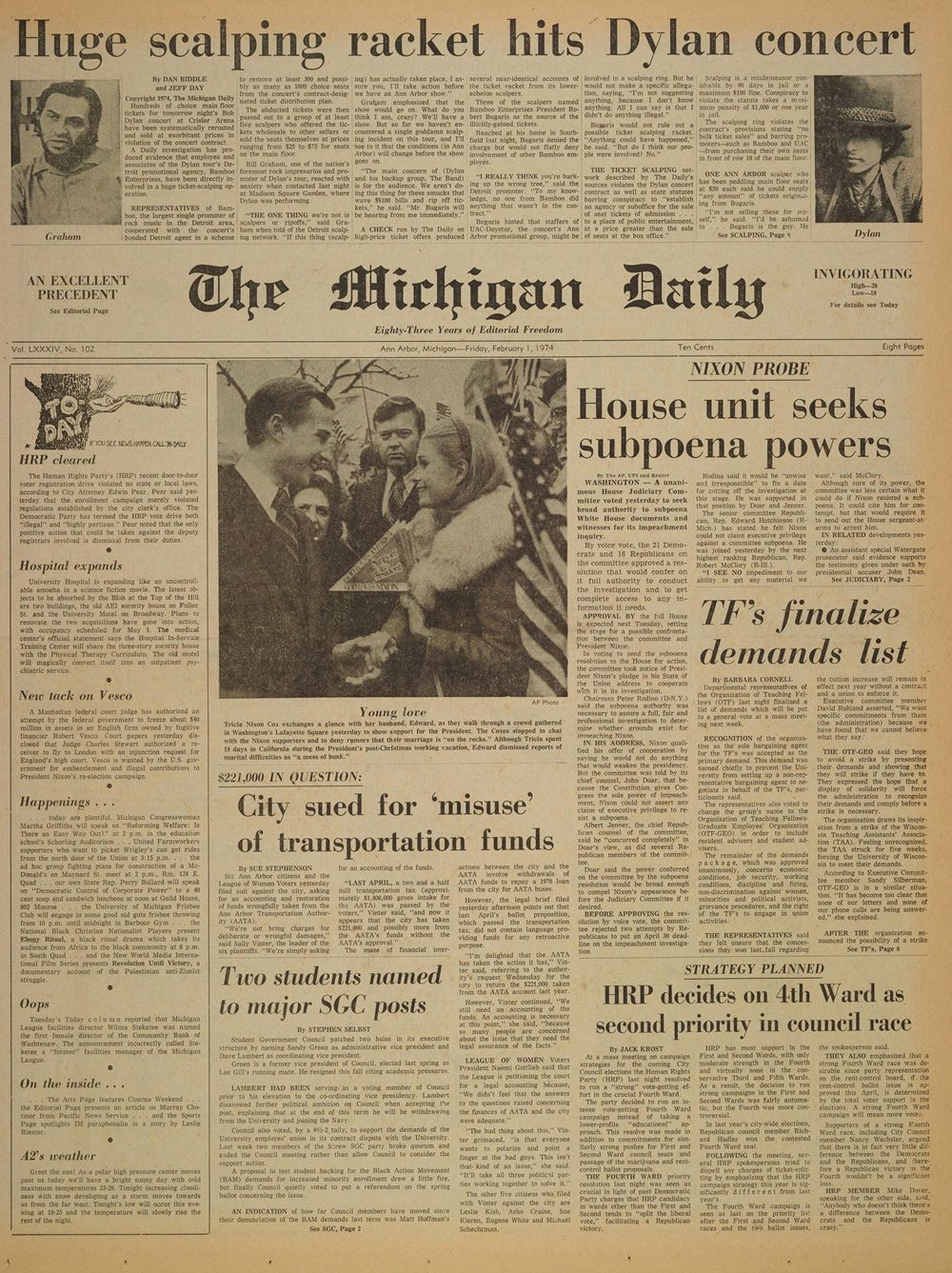 the Michigan daily 2 Jan 1974 Bob Dylan cover story