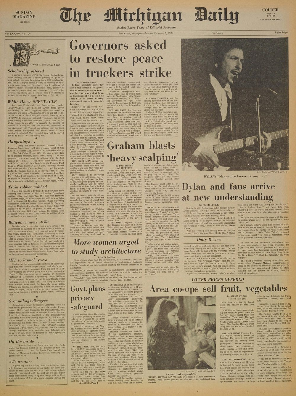 the Michigan daily 3 Feb 1974 Bob Dylan cover story