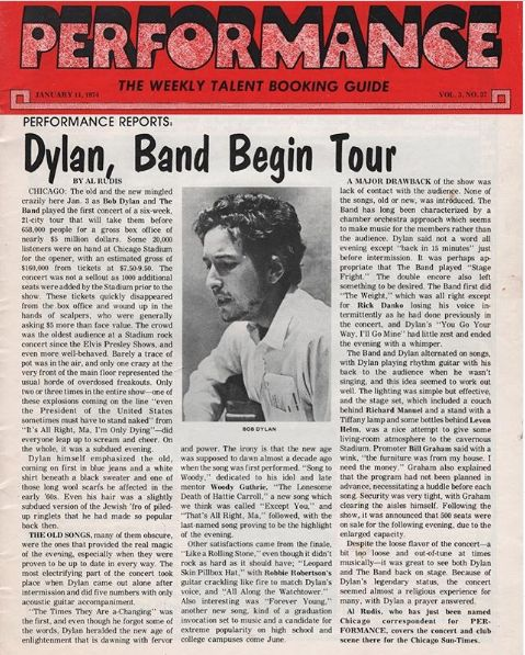 performance 1974 magazine Bob Dylan cover story
