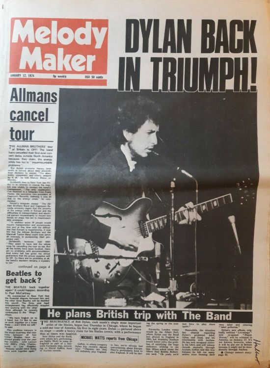 Melody Maker 12 January 1974 Bob Dylan cover story
