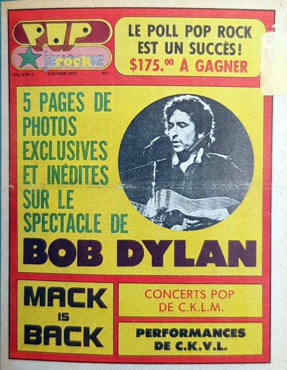 pop rock canada magazine 1974 Bob Dylan cover story