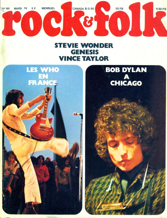 rock & folk magazine france #86 Bob Dylan cover story