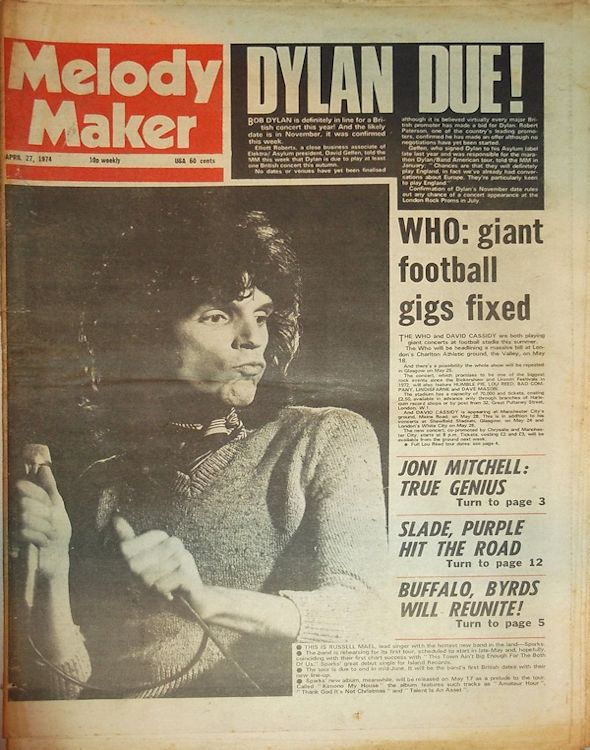 Melody Maker Bob Dylan cover story