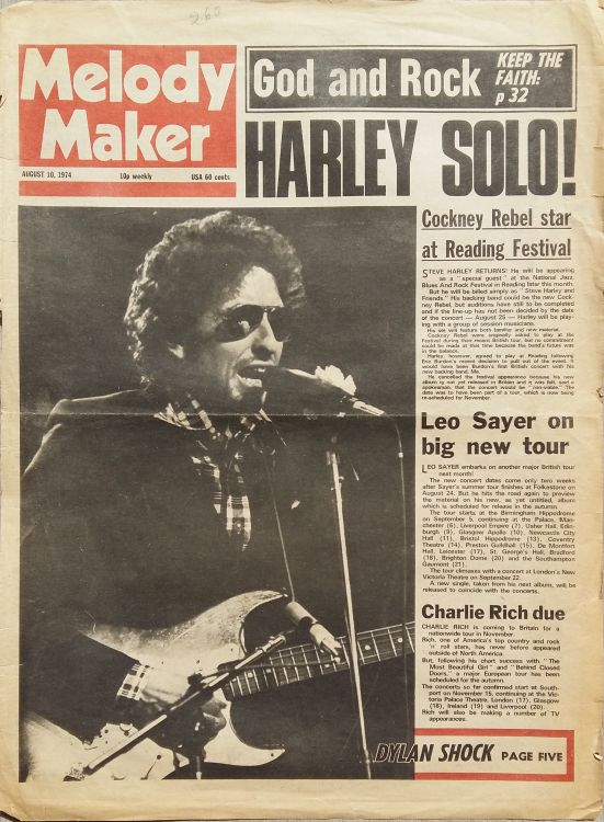 Melody Maker 10 August 1974 Bob Dylan cover story