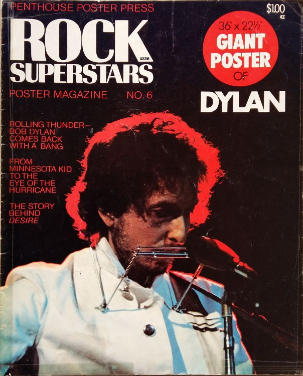 rock superstar poster magazine 1974 Bob Dylan cover story