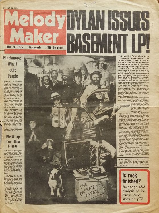 Melody Maker 28 June 1975 Bob Dylan cover story