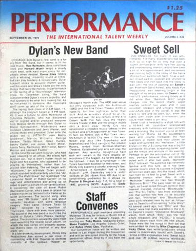 performance 1975 magazine Bob Dylan cover story