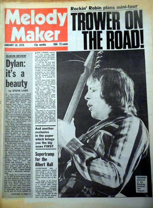 Melody Maker Bob Dylan 10 January 1976cover story