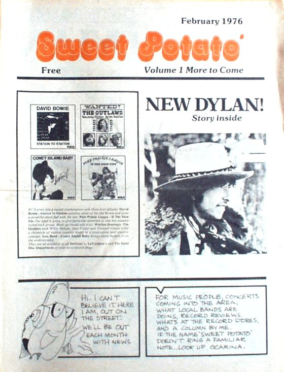 sweet potato February 1976 magazine Bob Dylan cover story