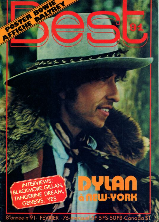 Best 1976 french magazine Bob Dylan cover story
