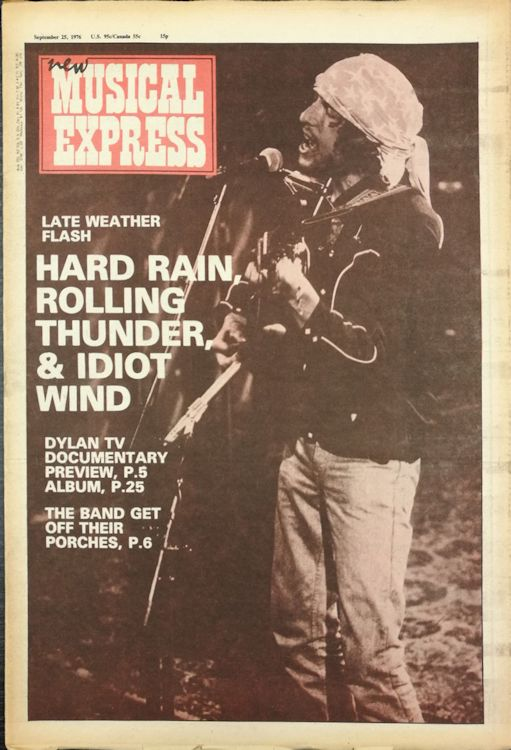 New Musical Express 25 September 1976 Bob Dylan cover story
