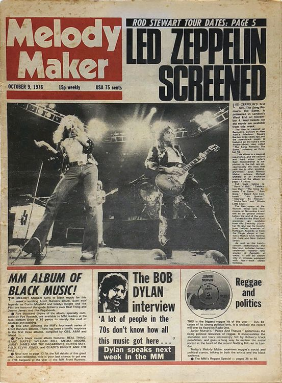 Melody Maker 9 October 1976 Bob Dylan cover story