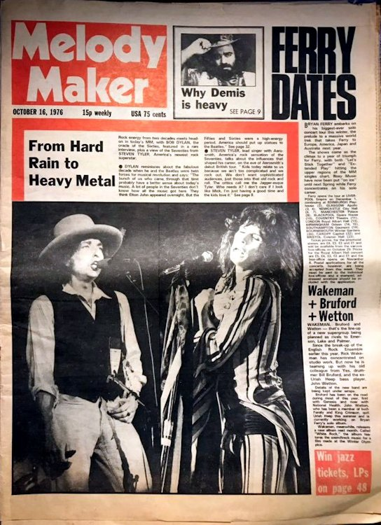Melody Maker 16 October 1976 Bob Dylan cover story
