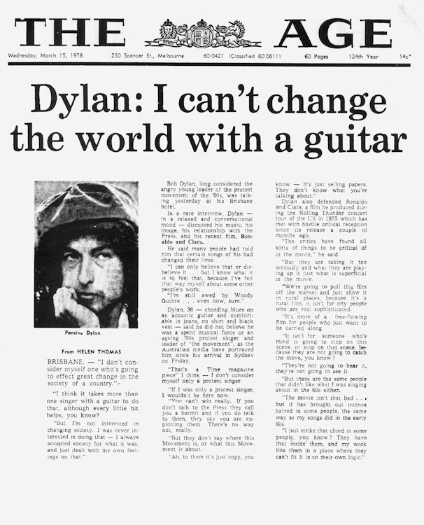 The age 1978 australia Bob Dylan cover story