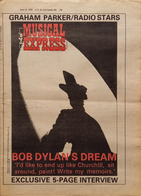 New Musical Express 22 April 1978Bob Dylan cover story