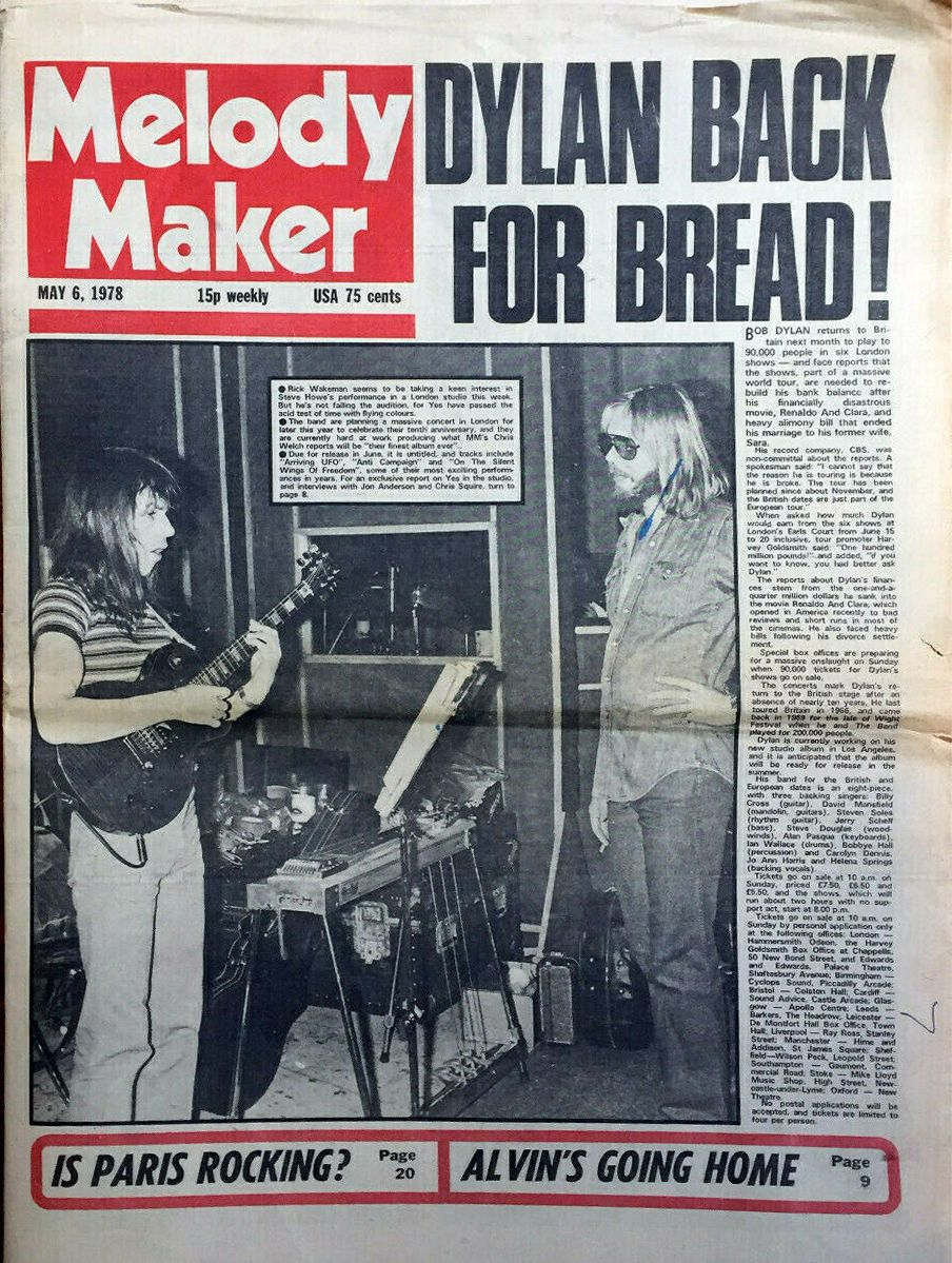 Melody Maker 6 May 1978 Bob Dylan cover story