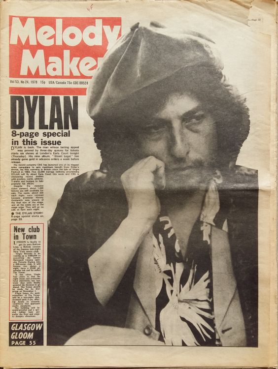 Melody Maker 17 June 1978 Bob Dylan cover story