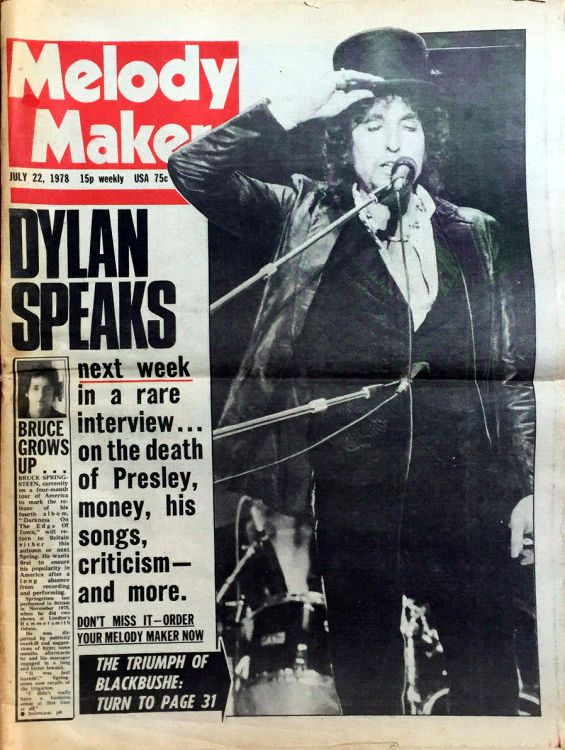 Melody Maker 22 July 1978 Bob Dylan cover story