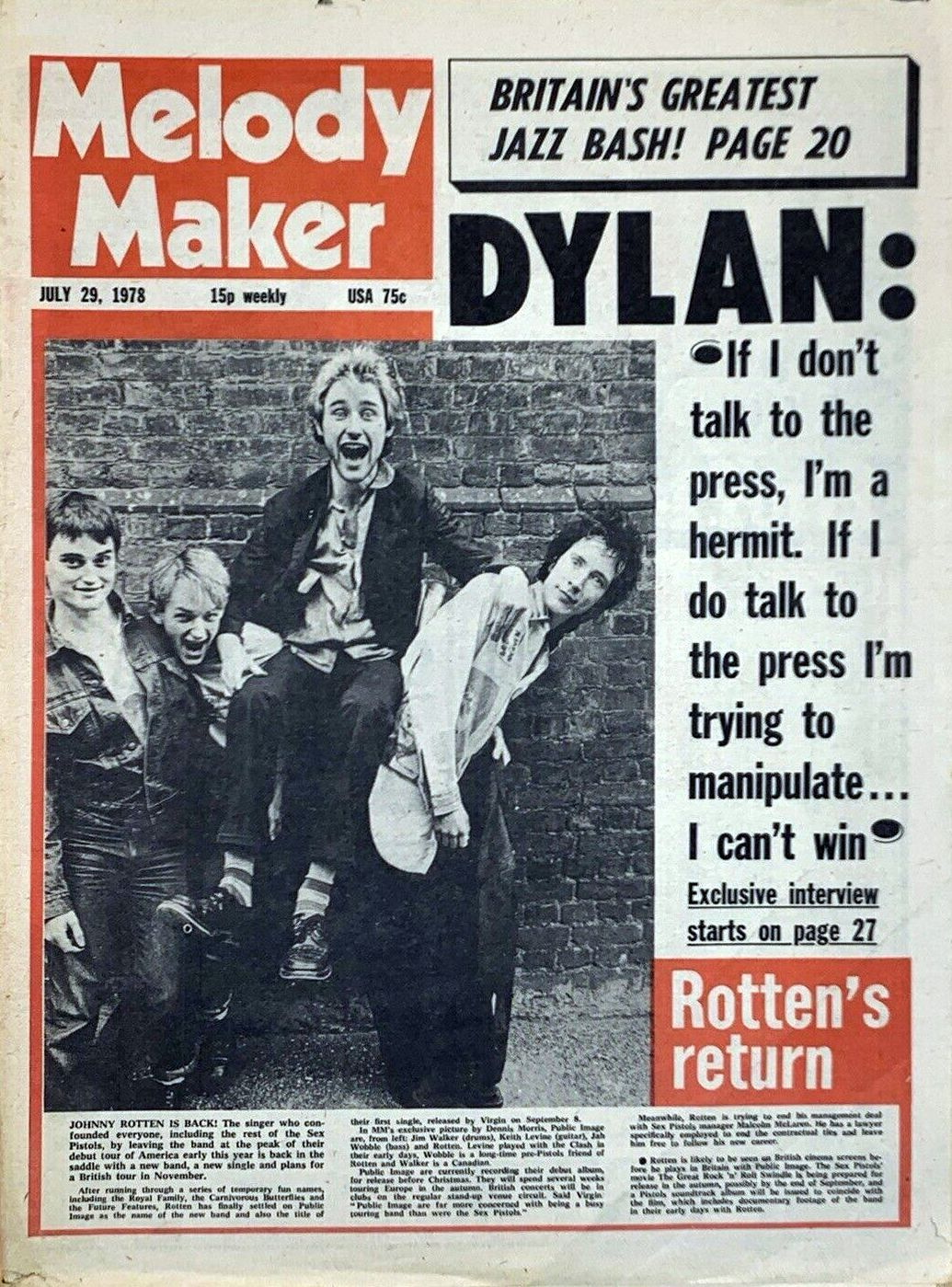 Melody Maker 29 July 1978  Bob Dylan cover story