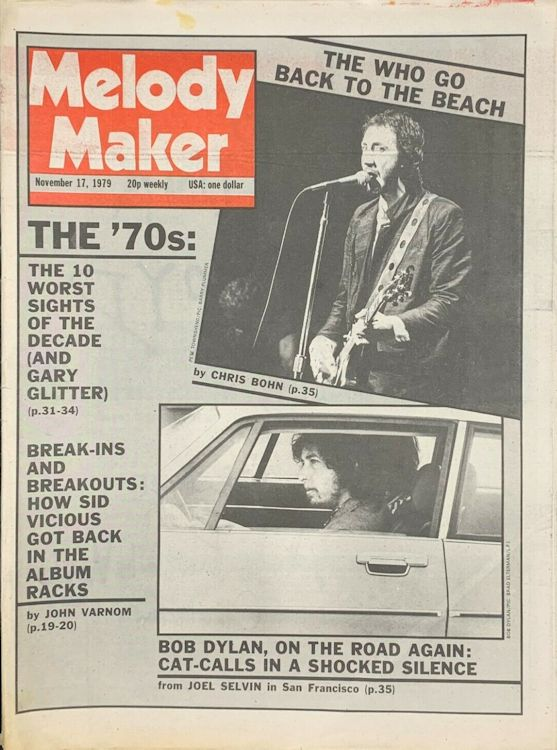 Melody Maker Bob Dylan cover story 17 November 1979