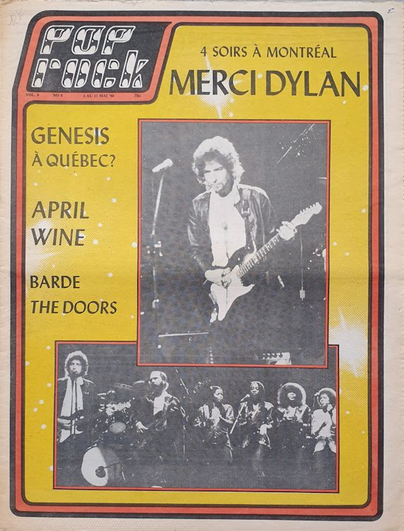 pop rock canada magazine 1980 Bob Dylan cover story